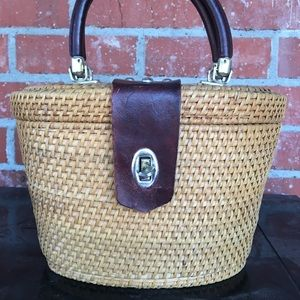 Handbags - Vintage 1960s Wicker Leather Basket Purse Brown